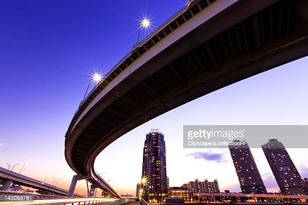 Highway at night, Koto Ward, Tokyo Prefecture, Honshu, Japan