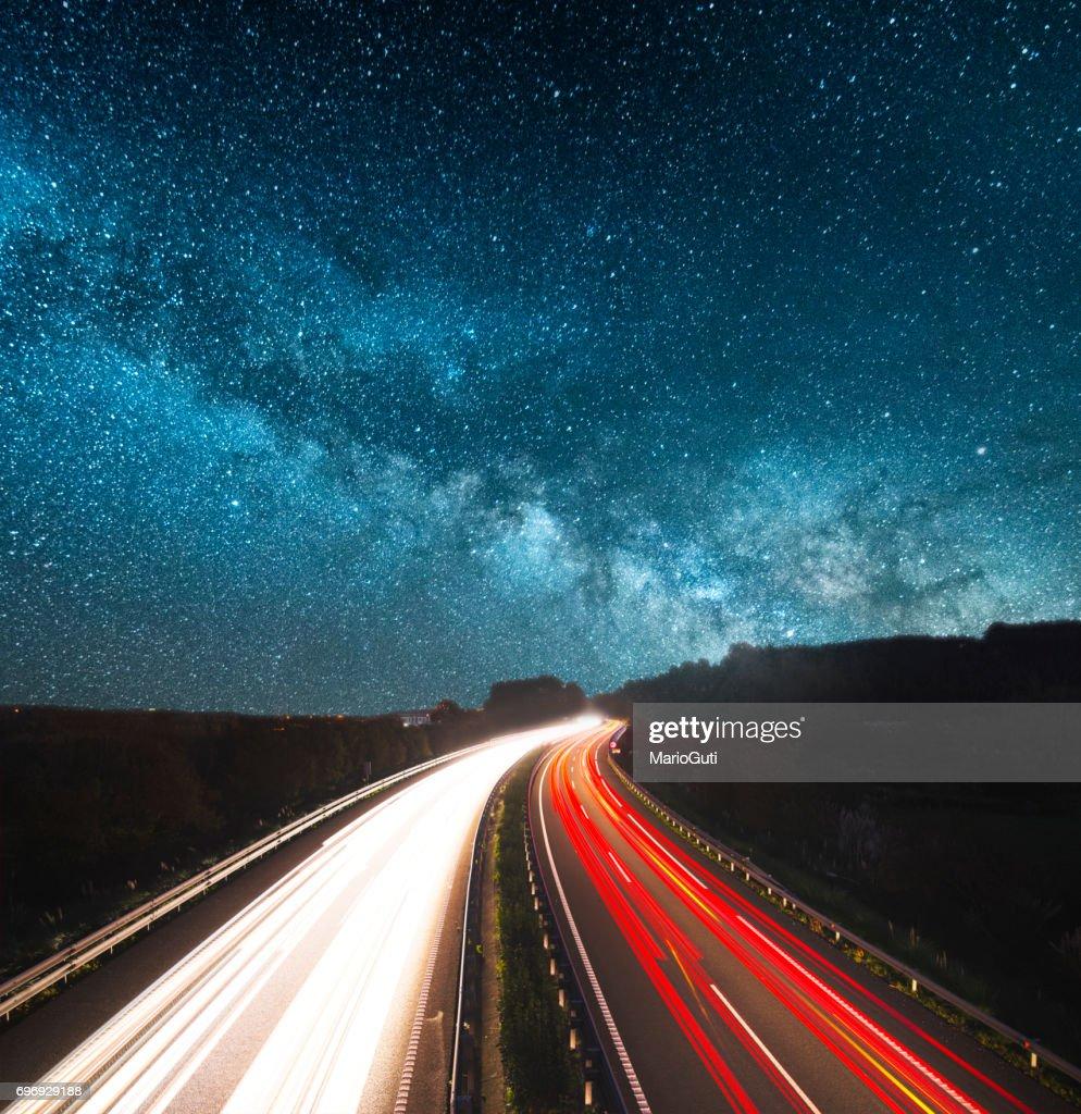 Highway at night : Stock Photo