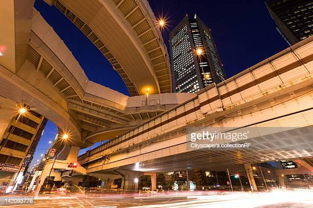 Highway at night, Shinjuku Ward, Tokyo Prefecture, Honshu, Japan