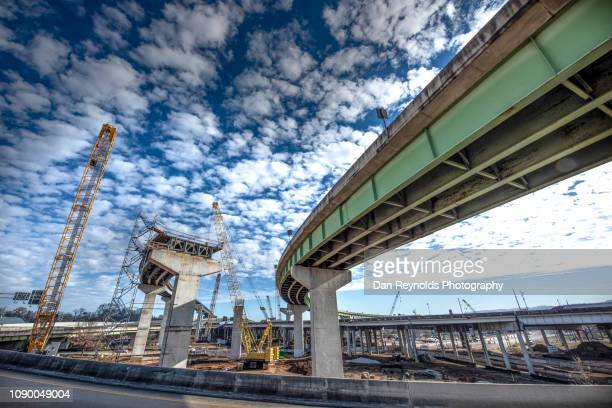 highway construction site - built structure stock pictures, royalty-free photos & images