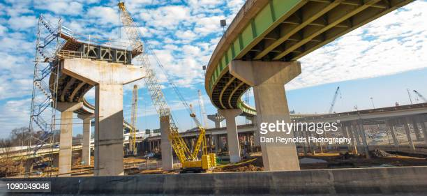 highway construction site - bridge built structure stock pictures, royalty-free photos & images