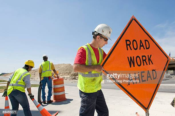 highway construction workers - road construction stock pictures, royalty-free photos & images