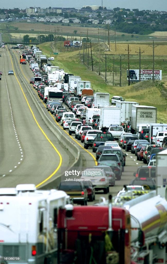 Highway gridlock on southbound I-25 looking from an overpass