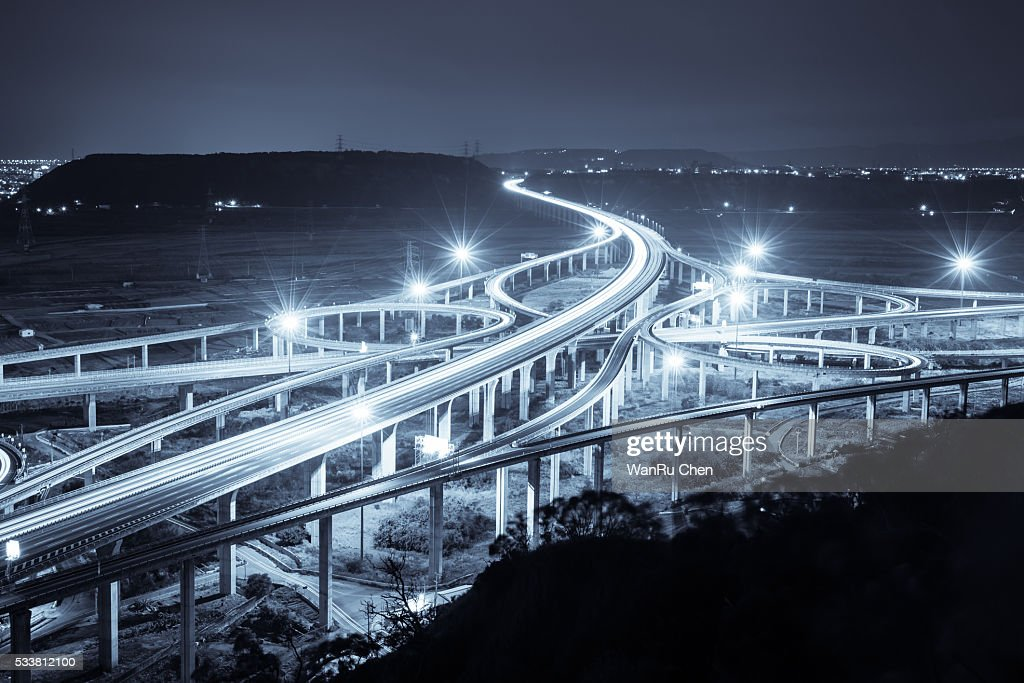 Highway in night with cars light : Foto stock