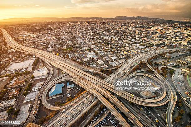 Highway interchanges at sunset