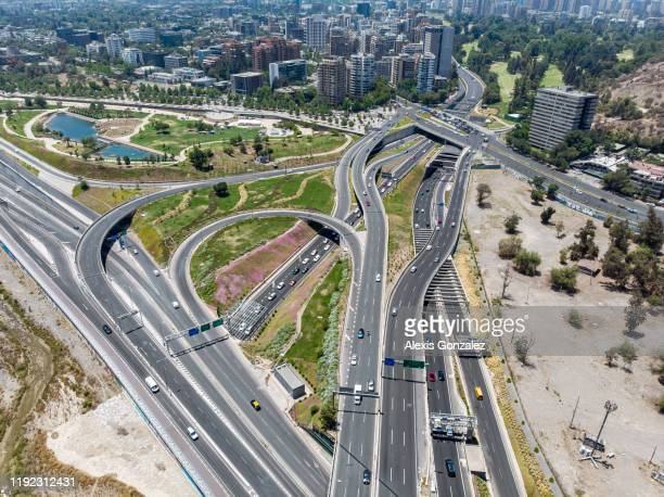 highway intersection in santiago de chile - santiago chile stock pictures, royalty-free photos & images