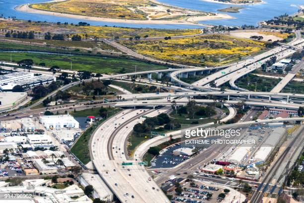 highway intersection - highway 405 stock photos and pictures