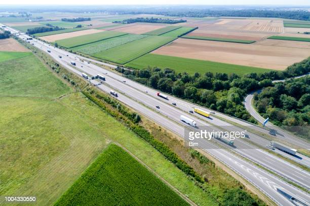 Highway Intersection with Trucks, Aerial View