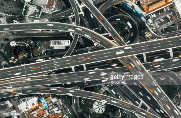 highway junction aerial view - 4k resolution stock pictures, royalty-free photos & images