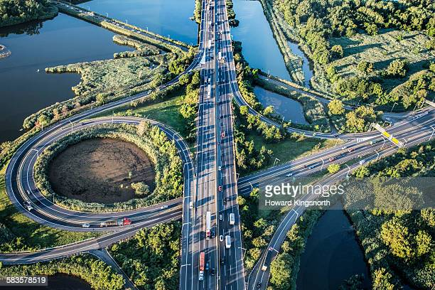 highway junction, aerial view - newark new jersey stock pictures, royalty-free photos & images