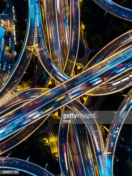 highway junction aerial view - traffico foto e immagini stock