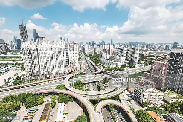 highway junction from above with blue sky and cloud