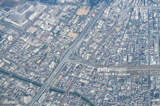 highway junction in nishinomiya city in hyogo prefecture of japan aerial view from airplane - 西宮市 ストックフォトと画像