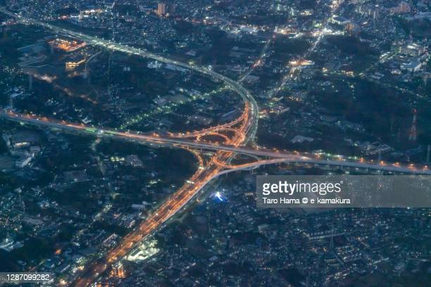 highway junction in saitama prefecture of japan aerial view from airplane - taro hama ストックフォトと画像