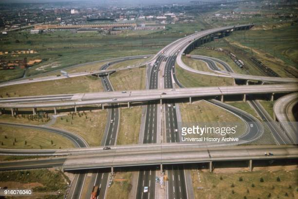 Highway Maze Turnpike High Angle View Newark New Jersey USA August 1959
