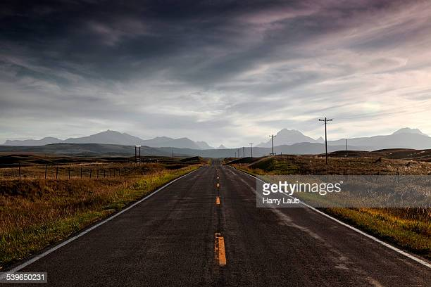 Highway no. 89, near Browning, the mountains of Glacier National Park at the back, Montana, United States
