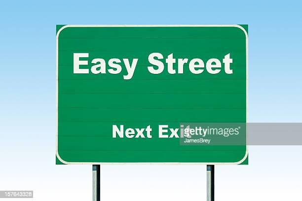 Highway Road Sign; Easy Street Next Exit