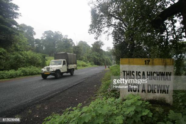 A highway sign at Wakad 340 km south of Mumbai