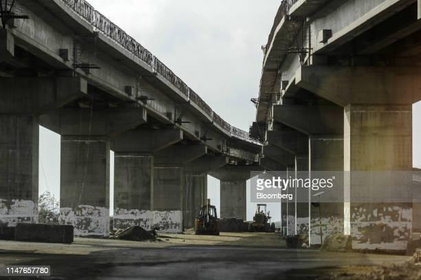 Highway stands under construction near the Jawaharlal Nehru Port, operated by Jawaharlal Nehru Port Trust , in Navi Mumbai, Maharashtra, India, on...