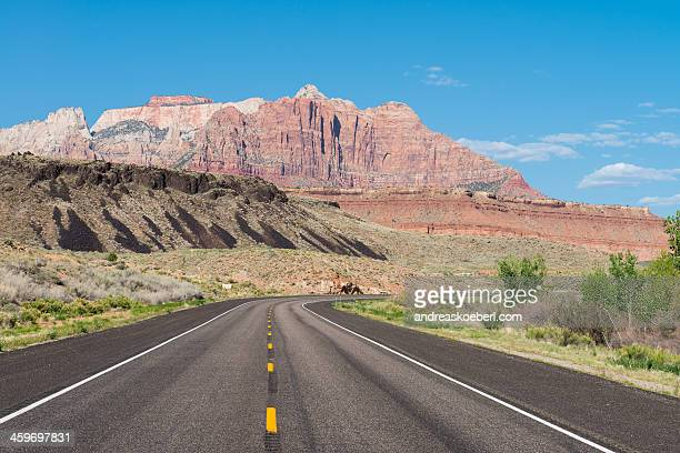 Highway to Zion National Park in Utah