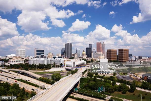 Highway traffic to Atlanta cityscape, Georgia, United States