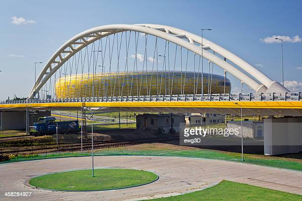 Highway viaduct and football stadium