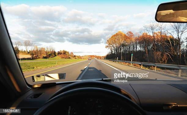 Highway View Through Windshield of Speeding Car