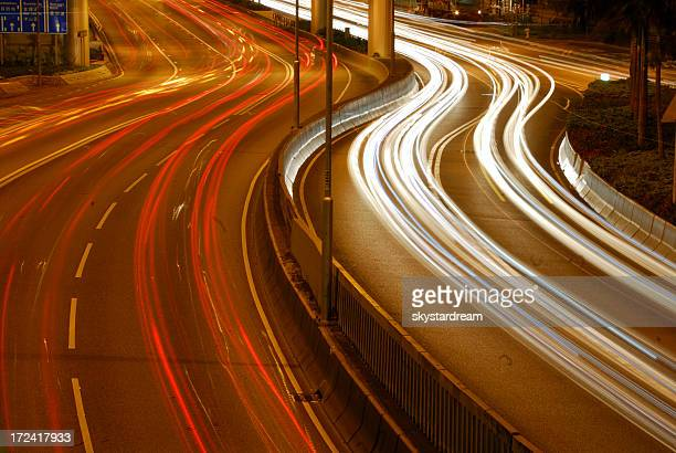 A highway with vehicles moving and blurred