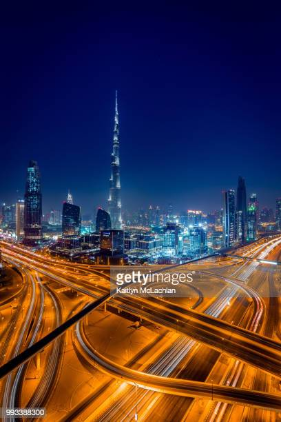 Highways at night in Dubai.