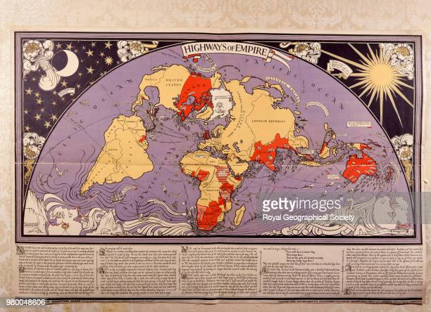 Highways of Empire Map with Britain at the centre showing shipping routes The world is coloured red or yellow to show British colonial control World...
