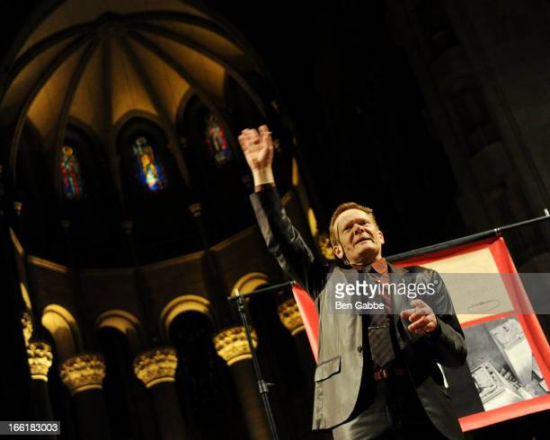 Highwire artist/author Philippe Petit attends Philippe Petit's Why Knot Book Launch Party at Cathedral of St John the Divine on April 9 2013 in New...