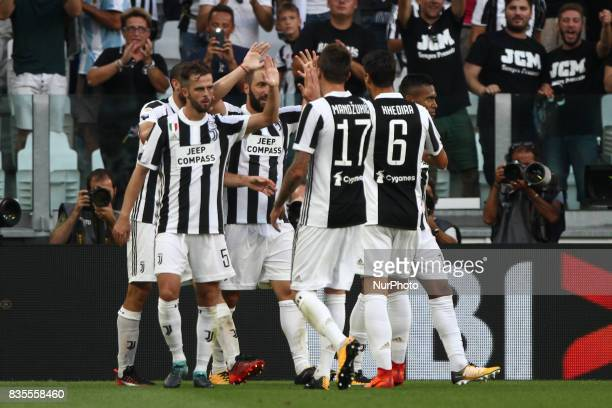 Higuain celebrates after scoring his goal during the Serie A football match n1 JUVENTUS CAGLIARI on at the Allianz Stadium in Turin Italy