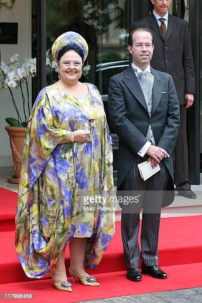 His Imperial Highness Maria Romanov, Gran Duchess of Russialeave the 'Hermitage' hotel to attend the religious ceremony of the Royal Wedding of...