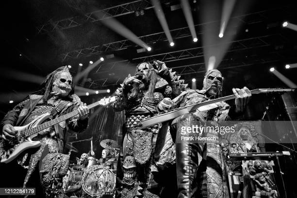 Hiisi, Tomi Putaansuu and Jussi Sydaenmaa of the Finnish band Lordi perform live on stage during a concert at the Kesselhaus on March 13, 2020 in...