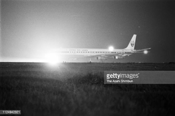 Hijacked Japan Airlines 124 bound for Osaka is seen at Haneda Airport on July 15, 1974 in Tokyo, Japan.