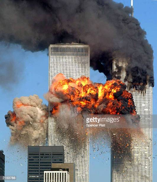 Hijacked United Airlines Flight 175 from Boston crashes into the south tower of the World Trade Center and explodes at 903 am on September 11 2001 in...