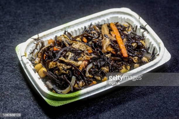 hijiki (edible brown algae) nimono - aburaage stock pictures, royalty-free photos & images