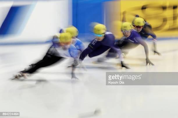 Hijiri Iwashita Takayuki Muratake and Hiroki Kikuchi compete in the Men's 1000m Heat during day two of the 40th All Japan Short Track Speed Skating...