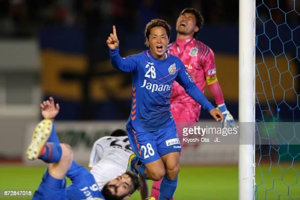 Hijiri Onaga of VVaren Nagasaki celebrates scoring his side's third goal during the JLeague J2 match between VVaren Nagasaki and Kamatamare Sanuki at...