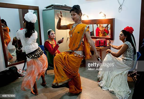 Hijras dance as they get ready backstage before the Hijra talent show part of the first ever event called Hijra Pride 2014 on November 10 2014 in...