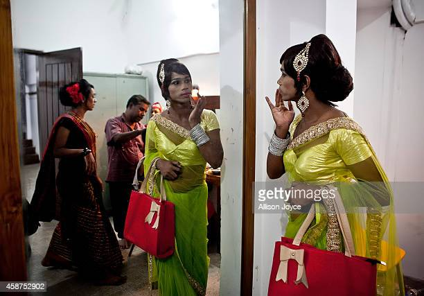 Hijras get ready backstage before the Hijra talent show part of the first ever event called Hijra Pride 2014 on November 10 2014 in Dhaka Bangladesh...