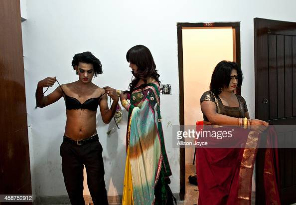 Hijras, Or Transgenders, Get Ready Backstage Before The