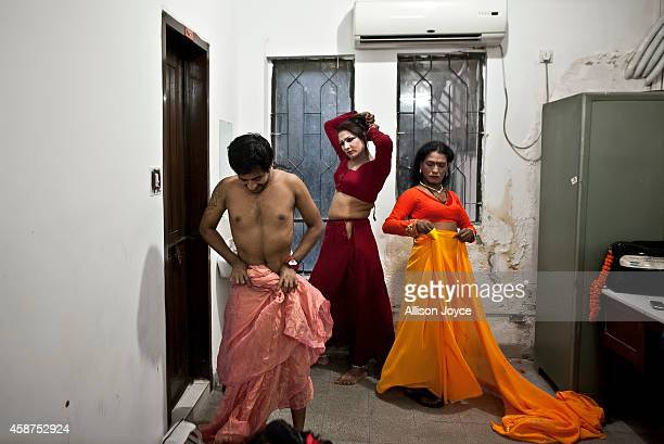 Hijras or transgenders get ready backstage before the Hijra talent show part of the first ever event called Hijra Pride 2014 on November 10 2014 in...