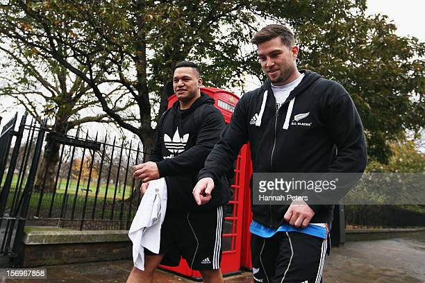 Hika Elliot and Cory Jane of the All Blacks return from a recovery session at the Imperial College on November 26 2012 in London England