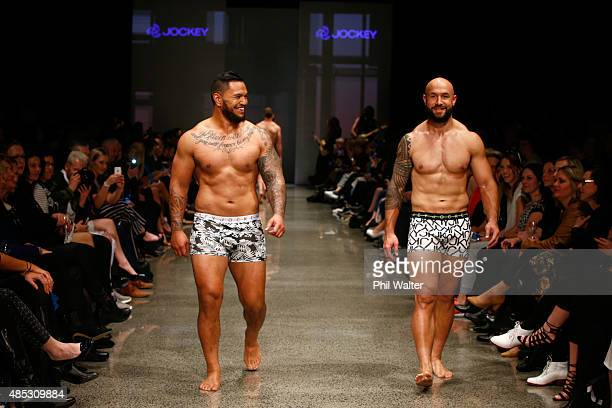 Hika Elliot of the All Blacks and DJ Forbes of the All Black Sevens walk in the Jockey show at New Zealand Fashion Week 2015 on August 27 2015 in...