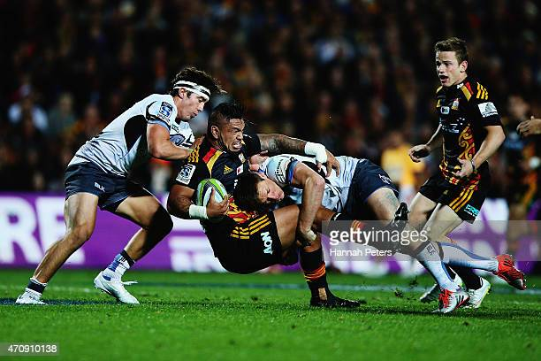Hika Elliot of the Chiefs is brought down during the round 11 Super Rugby match between the Chiefs and the Force at Waikato Stadium on April 24 2015...