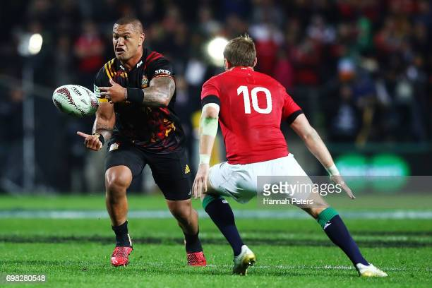 Hika Elliot of the Chiefs offloads the ball during the match between the Chiefs and the British Irish Lions at Waikato Stadium on June 20 2017 in...