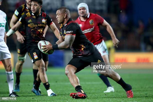 Hika Elliot of the Chiefs runs the ball during the match between the Chiefs and the British Irish Lions at Waikato Stadium on June 20 2017 in...