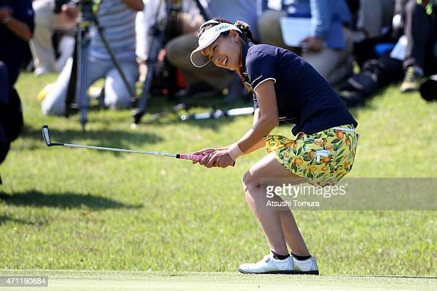 Hikari Fujita of Japan celebrates her winning putt during the third round of Fujisankei Ladies Classic at the Kawana Hotel Golf Course Fuji Course on...
