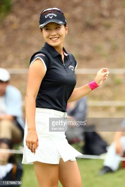 Hikari Fujita of Japan celebrates the birdie on the 9th green during the final round of the Yupiteru Shizuoka Shimbun SBS Ladies at Shizuoka Country...